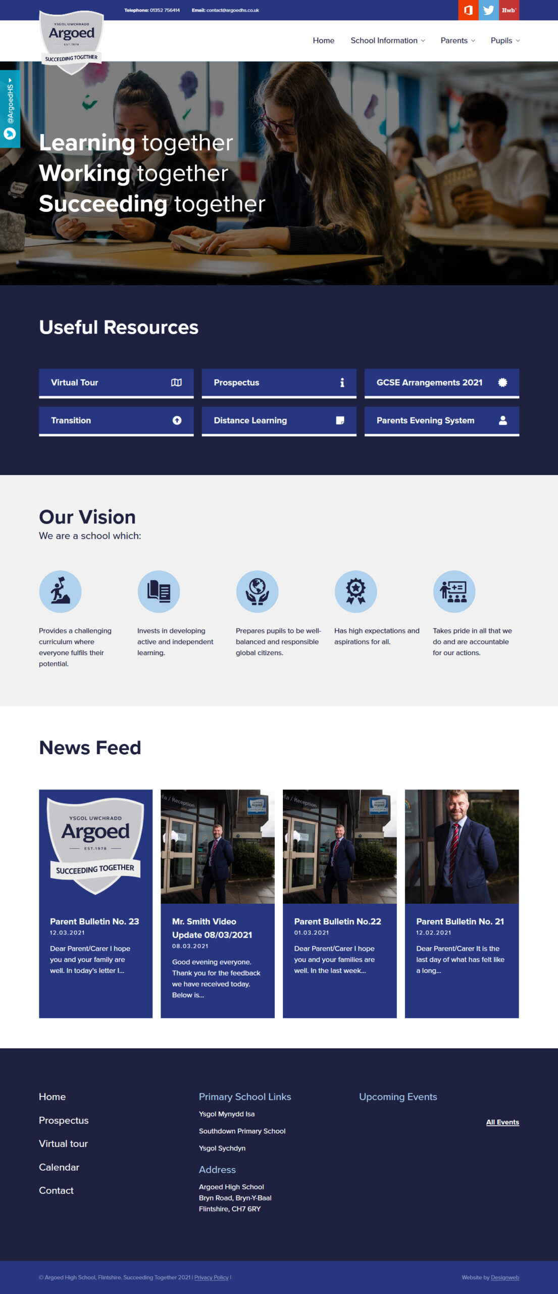 Argoed High School - Website Design by Designweb North Wales